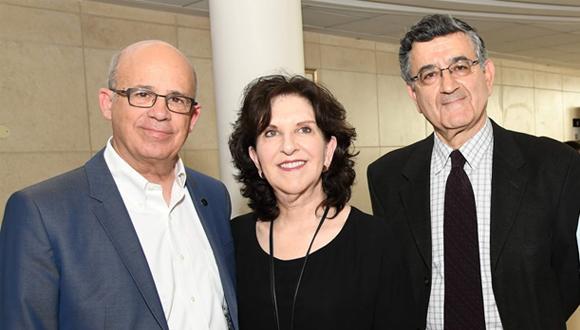 Prof. Joseph Klafter, TAU President, Dr. Anita Friedman, Koret President and Prof. Ron Shamir, E. J. Safra Center Head at the inauguration ceremony