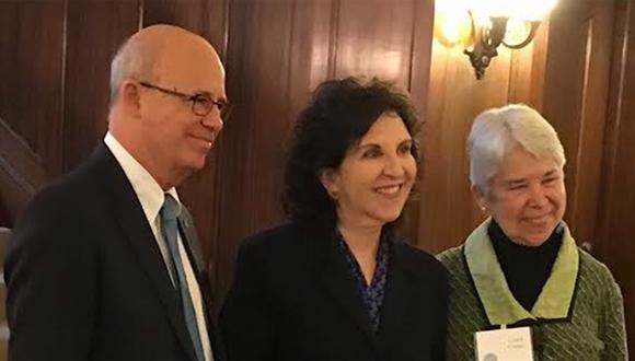 TAU president, Prof. Joseph Klafter, Koret President, Dr. Anita Friedman and UC Berkeley Chancellor, Prof. Carol T. Christ announcing the KBT initiative at UC Berkeley (March 2018)